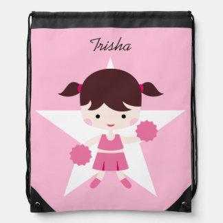 Sac de cordon uniforme de rose de pom-pom girl de sacs avec cordons