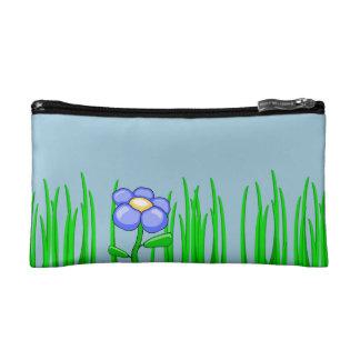 sac de cosmétique de fleur et d'herbe trousse make-up