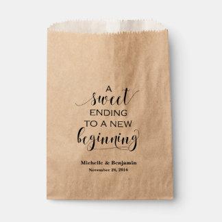 Sac de faveur de mariage - fin douce au nouveau sachets en papier