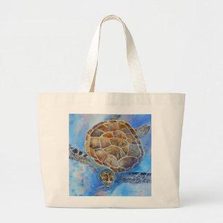 Sac de plage d'aquarelle de tortue de mer