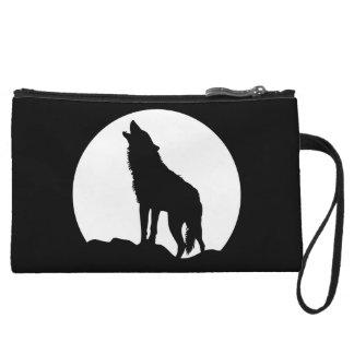 Sac de poche noire de bracelet de loup d'hurlement sac à main avec anse