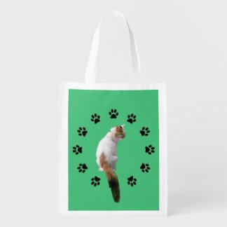 Sac de polyester - chat de calicot dans le cercle sacs d'épicerie