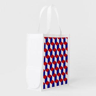 Sac de polyester - illusion blanche et bleue rouge sacs d'épicerie réutilisables