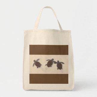 sac d'épicerie avec trois tortues de bébé laissant