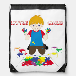 Sac d'ordinateur portable de petit enfant sac avec cordons