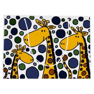 Sac drôle de cadeau d'abrégé sur famille de girafe grand sac cadeau