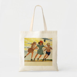 Sac Enfants vintages, patinage de rouleau d'amusement