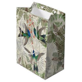 Sac floral de cadeau de fougères d'oiseaux