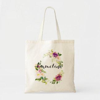 Sac floral personnalisé d'aquarelle nommée