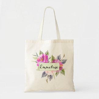 Sac floral rose personnalisé de Rosey d'aquarelle