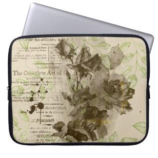 Sac floral vintage d'ordinateur portable de sépia
