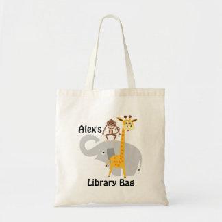 Sac fourre-tout à bibliothèque d'animaux de jungle