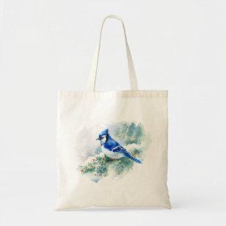 Sac fourre-tout à budget de geai bleu d'aquarelle
