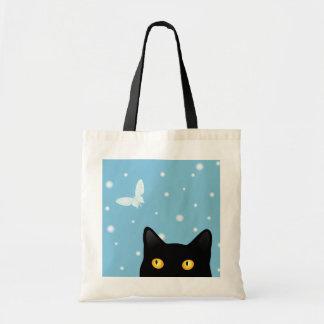 Sac fourre-tout à chat noir et à papillon de neige