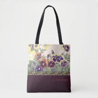 Sac fourre-tout à conception de violette de jardin