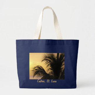 Sac fourre-tout à coucher du soleil de palmier du