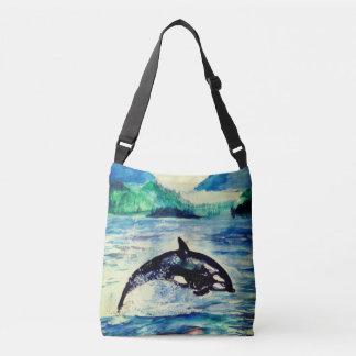 Sac fourre-tout à dessin d'aquarelle de baleine