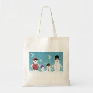 Sac fourre-tout à famille de bonhomme de neige