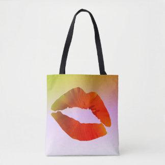Sac fourre-tout à impression de coutume de lèvres