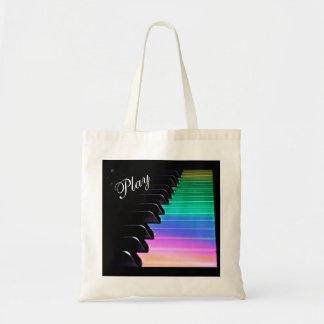 Sac fourre-tout à musique d'arc-en-ciel de piano