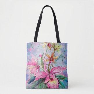 Sac fourre-tout à orchidée d'aquarelle
