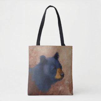 Sac fourre-tout à portrait d'ours noir