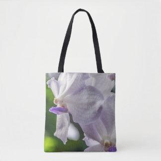 Sac fourre-tout blanc à impression d'orchidées