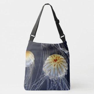 sac fourre-tout blanc bleu à abrégé sur méduses