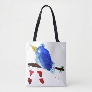 Sac fourre-tout bleu à oiseau