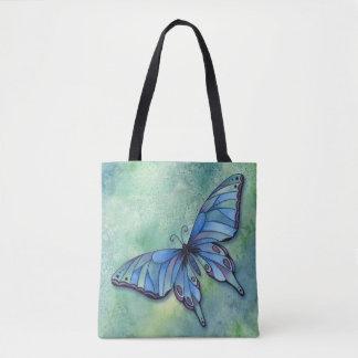 Sac fourre-tout bleu stylisé à papillon