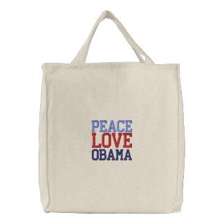 Sac fourre-tout brodé à Obama d'amour de paix