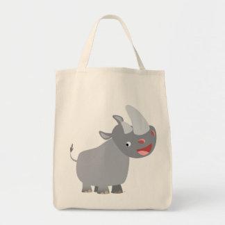 Sac fourre-tout drôle à épicerie de rhinocéros de