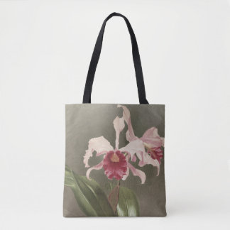 Sac fourre-tout floral à art d'orchidée vintage de