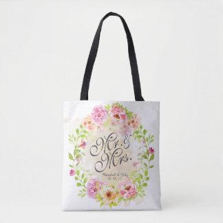 Sac fourre-tout floral personnalisé à mariage