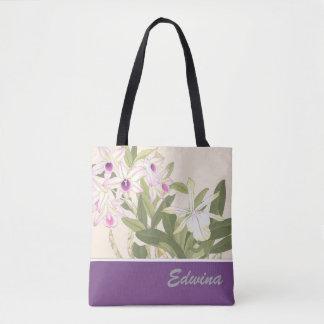 Sac fourre-tout japonais à orchidée d'impression