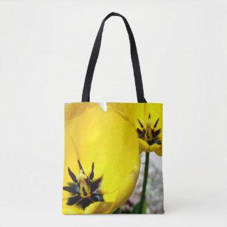 Sac fourre-tout jaune à impression de tulipe