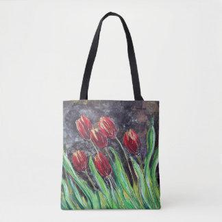 Sac fourre-tout original à fleur d'art de tulipes