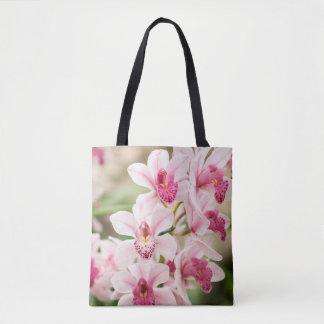 Sac fourre-tout rose à orchidée réutilisable