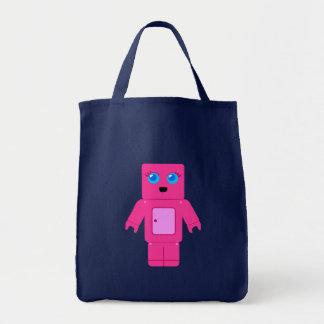 Sac fourre-tout rose à robot