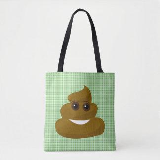 Sac fourre-tout vert à dunette d'Emoji de plaid
