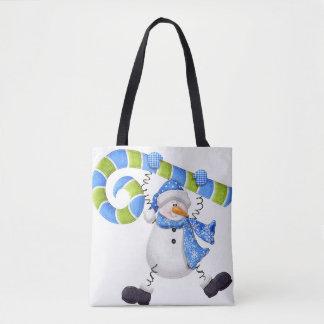 Sac fourre-tout vert et bleu à bonhomme de neige