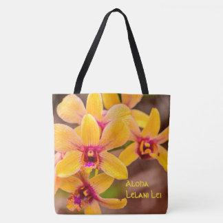 Sac hawaïen de plage de monogramme d'orchidée