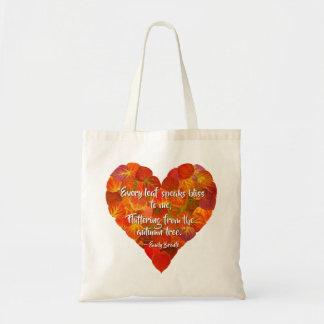 Sac J'aime le coeur Automne-Rouge 1, citation de