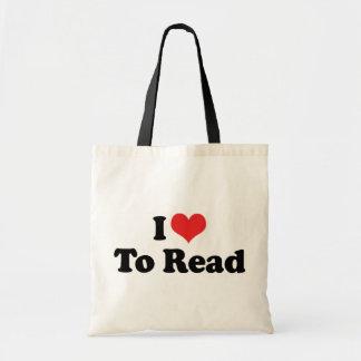 Sac J'aime le coeur pour lire - l'amoureux des livres