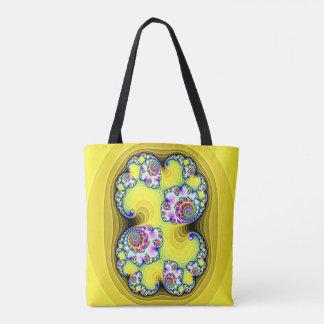 sac jaune motif fractales