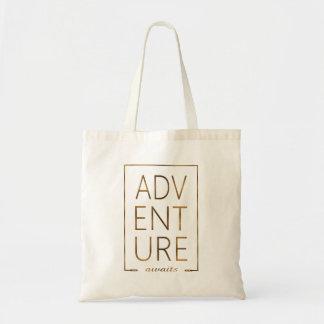"""Sac La feuille d'or """"AVENTURE attend"""" la typographie"""