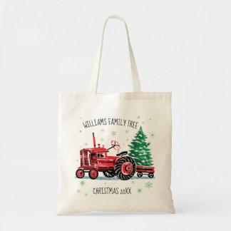Sac L'arbre de Noël vintage rouge de tracteur ajoutent