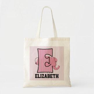 """Sac L'éléphant rose badine le monogramme """"E """""""