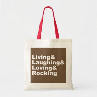 Sac Living&Laughing&Loving&ROCKING (blanc)