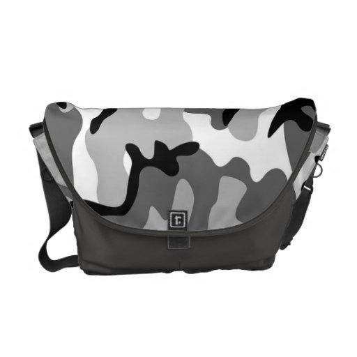 Sac messenger à camouflage de gris et de noir besaces